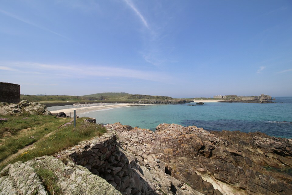 turquoise blue waters in alderney